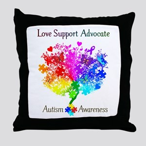 Autism Spectrum Tree Throw Pillow